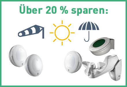 Raffstore & Markisen in Abhängigkeit von Sonne, Wind und Regen steuern.